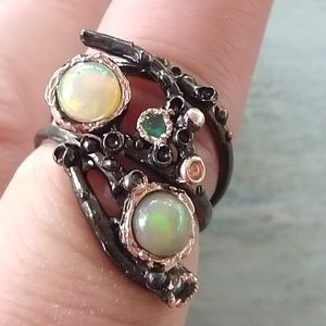 Jewelry - Gorgeous Art Ring Natural Opals Stamped 925